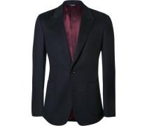 Blue Slim-fit Cashmere And Cotton-blend Blazer