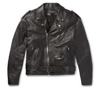 Oversized Printed Leather Biker Jacket