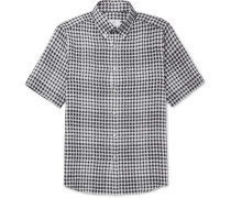 Button-down Collar Gingham Linen Shirt
