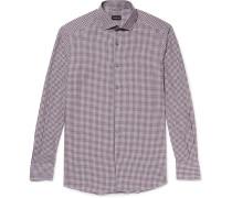 Slim-fit Cutaway-collar Checked Cotton Shirt