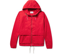 Waterproof Nylon And Cotton-blend Hooded Jacket