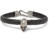 Braided Leather And Burnished Silver-tone Skull Bracelet