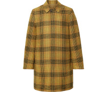 Reversible Checked Wool and Cotton-Twill Coat