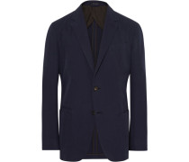 Navy Slim-fit Unstructured Cotton And Cashmere-blend Twill Blazer