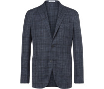 Blue K-jacket Slim-fit Prince Of Wales Check Wool, Silk And Linen-blend Blazer