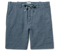 Slim-fit Linen Drawstring Shorts