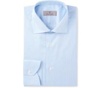 Blue Cutaway-collar Striped Cotton Shirt