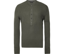 Slim-fit Ribbed-knit Henley Sweater