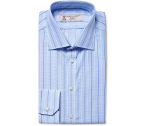Blue Slim-fit Striped Puppytooth Cotton Shirt