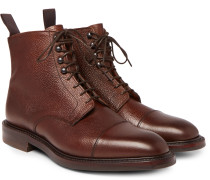 + George Cleverley Cap-Toe Pebble-Grain Leather Boots