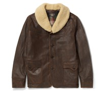 Palmer Shearling-Trimmed Distressed Leather Jacket