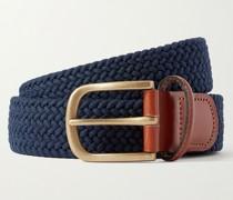 3.5cm Leather-Trimmed Woven Belt