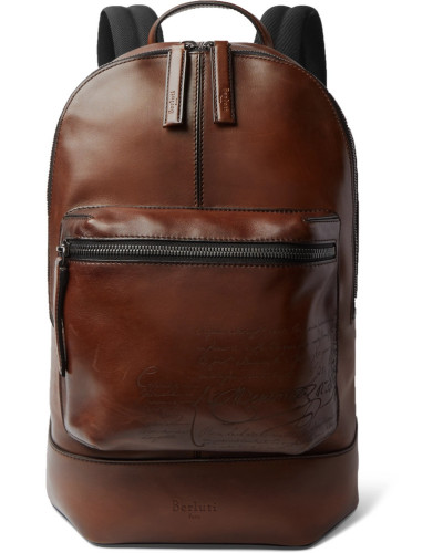 Volume Large Leather Backpack - Tan