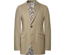 Beige Slim-fit Stretch-cotton Suit Jacket