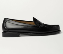 Weejuns Heritage Larson Calf Hair-Trimmed Leather Penny Loafers
