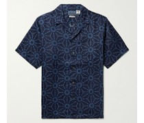 Asanoha Camp-Collar Indigo-Dyed Linen Shirt