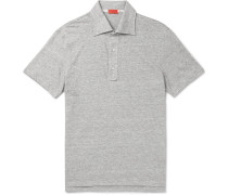 Slim-fit Space-dyed Knitted Linen And Cotton-blend Polo Shirt