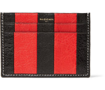 Bazar Striped Textured-leather Cardholder