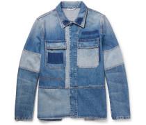 Slim-fit Patchwork Distressed Denim Jacket