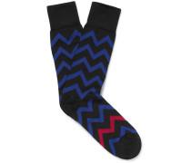 Patterned Stretch Cotton-blend Socks