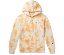 Logo-Embroidered Tie-Dyed Fleece-Back Cotton-Blend Jersey Hoodie