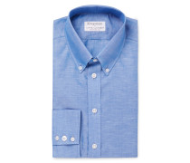+ Turnbull & Asser Blue Slim-fit Cotton And Linen-blend Shirt