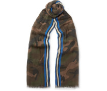 Fringed Camouflage-print Modal, Cashmere And Silk-blend Scarf