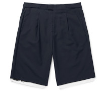 Pleated Wool And Cotton-canvas Shorts
