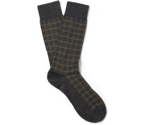 Saffron Checked Cotton-blend Socks