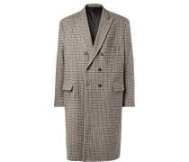 Oversized Double-breasted Checked Wool Coat - Brown