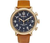 The Runwell 41mm Pvd Gold-plated And Leather Chronograph Watch