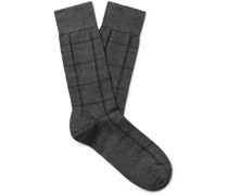 Windowpane Checked Pima Cotton-Blend Socks