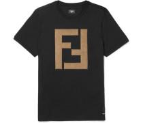 Faux Suede-appliquéd Cotton-jersey T-shirt