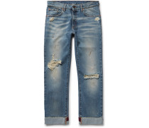 Slim-fit Embroidered And Distressed Denim Jeans