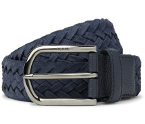 3.5cm Leather-trimmed Woven Suede Belt