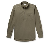 Button-Down Collar Cotton Half-Placket Shirt