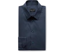Navy Slim-Fit Stretch Cotton-Blend Shirt