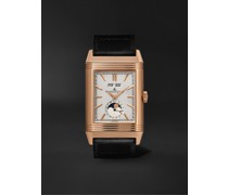 + Casa Fagliano Reverso Tribute Calendar Limited Edition Hand-Wound 29.9mm 18-Karat Rose Gold and Leather Watch, Ref. No. 391242P
