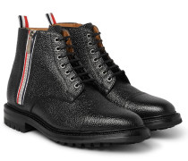 Stripe-trimmed Pebble-grain Leather Boots