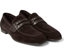 Intrecciato Leather-trimmed Suede Penny Loafters