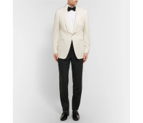 Cream O'connor Slim-fit Grosgrain-trimmed Wool And Mohair-blend Tuxedo Jacket