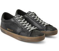 Superstar Distressed Leather And Nubuck Sneakers