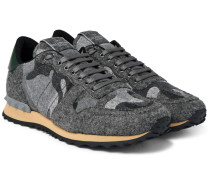 Camouflage-print Felt Sneakers