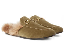 Princetown Horsebit Shearling-lined Velvet Backless Loafers