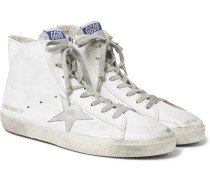 Francy Distressed Leather And Suede High-top Sneakers
