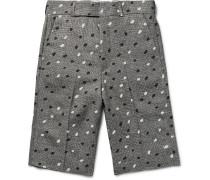 Paint-Splattered Houndstooth Linen Shorts
