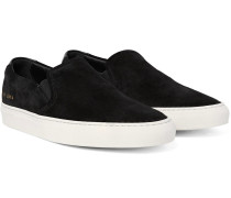 Retro Leather-trimmed Suede Slip-on Sneakers