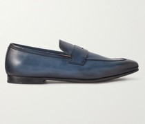 Chiltern Burnished-Leather Penny Loafers