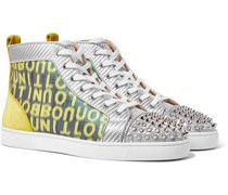 Louis Spiked Suede and Mesh-Trimmed Glittered Logo-Print Canvas High-Top Sneakers