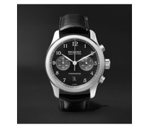 ALT1-C Polished Black Automatic Chronograph 43mm Stainless Steel and Alligator Watch, Ref. No. ALT1-C-P-BK-R-S